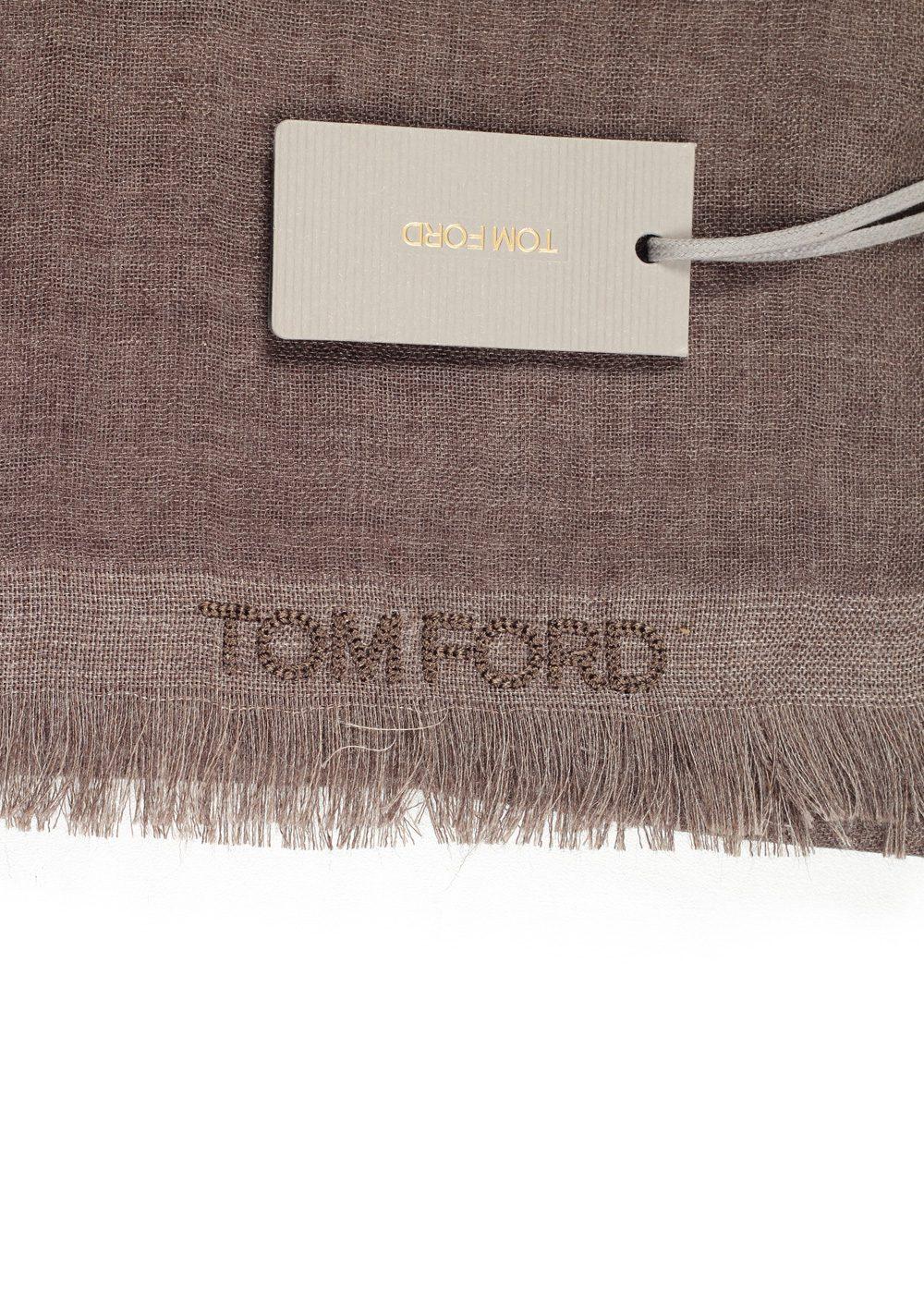 Tom Ford Brown Cashmere Silk Signature Scarf 75″ / 24″ | Costume Limité