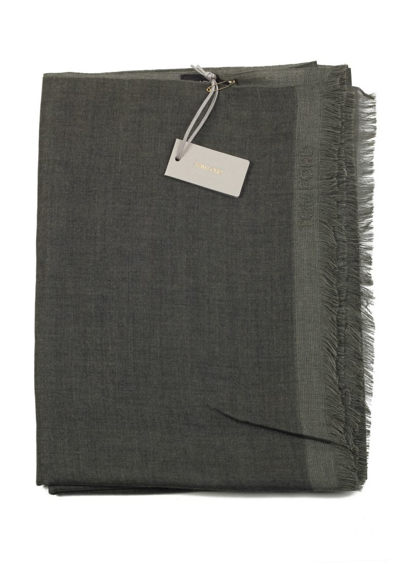 Tom Ford Gray Cashmere Silk Signature Scarf 75″ / 24″ - thumbnail | Costume Limité
