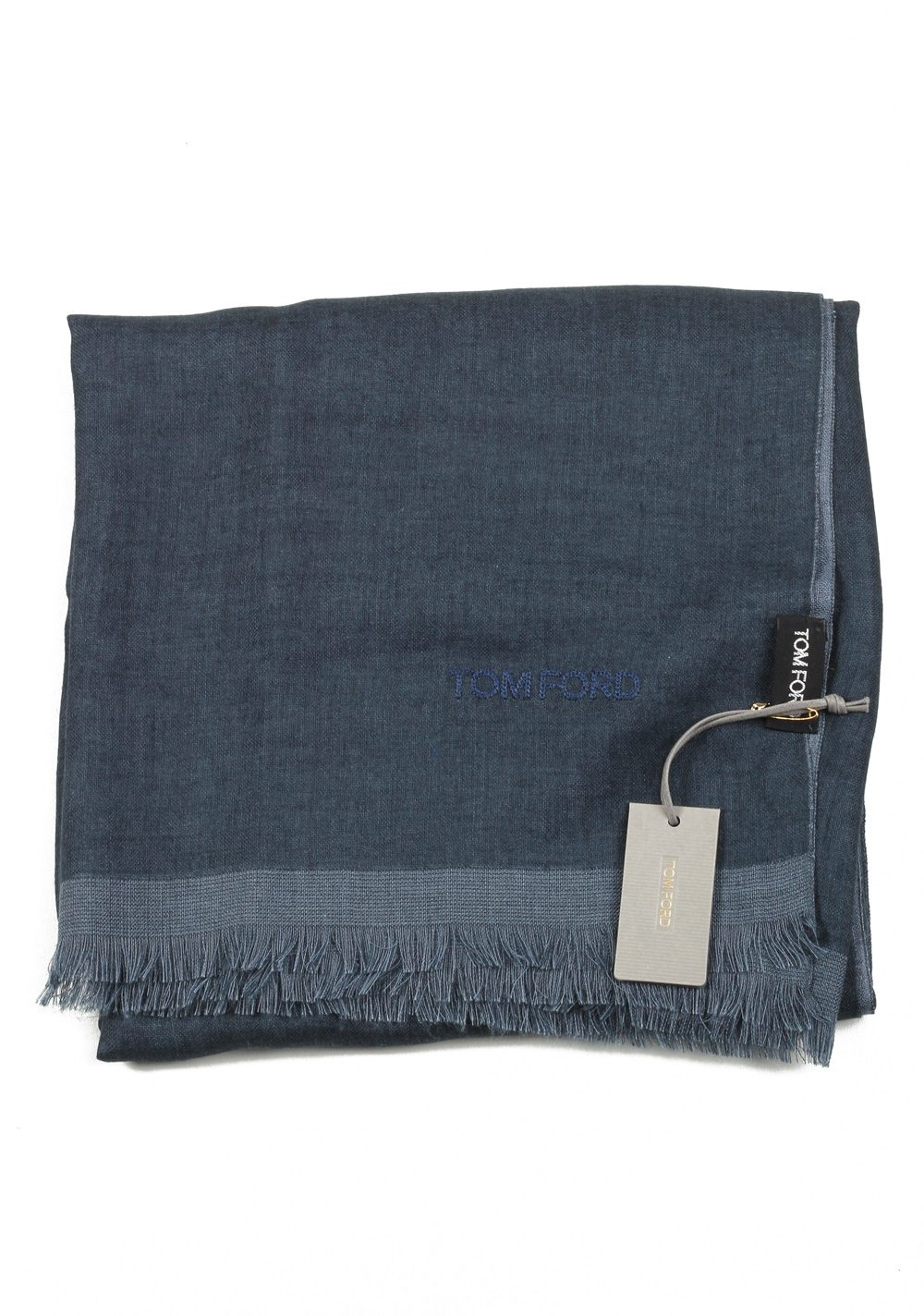 Tom Ford Blueish Gray Cashmere Silk Signature Scarf 75″ / 24″ | Costume Limité