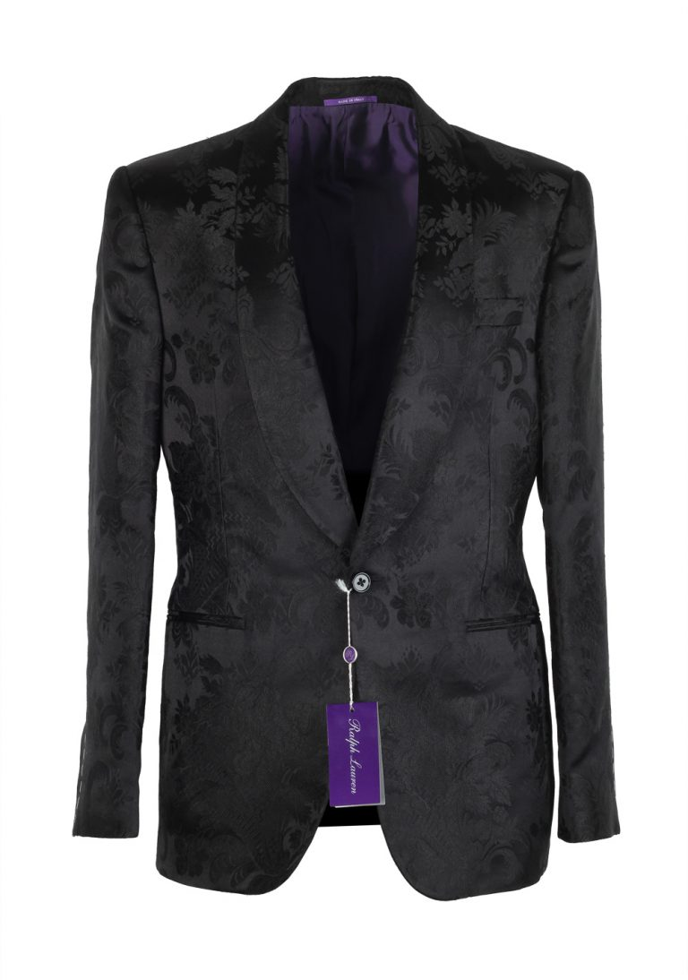 Ralph Lauren Purple Label Black Floral Shawl Dinner Jacket Size 48 / 38R U.S. In Mulberry Silk - thumbnail | Costume Limité
