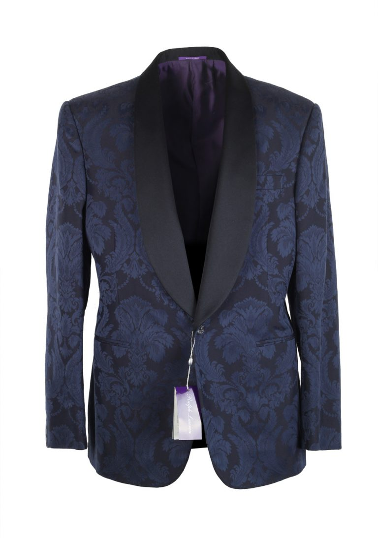 Ralph Lauren Purple Label Blue Floral Shawl Dinner Jacket Size 52 / 42R U.S. In Cotton Silk - thumbnail | Costume Limité