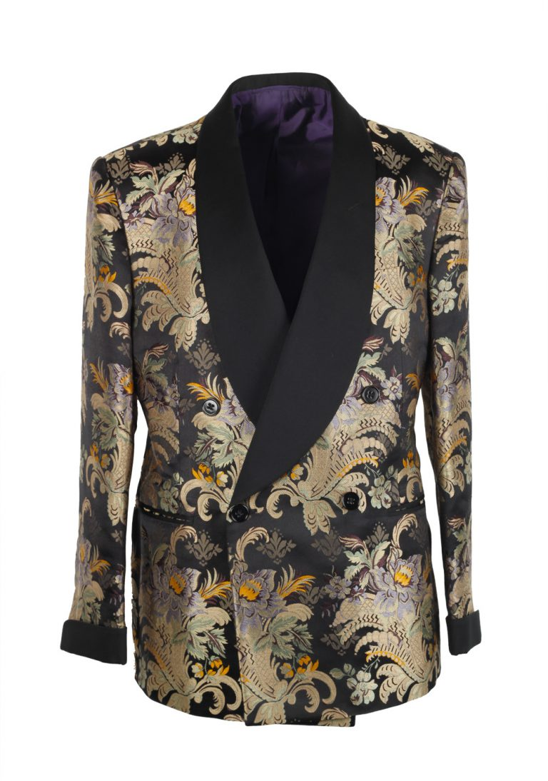 Ralph Lauren Purple Label Gold Floral Shawl Dinner Jacket Size 52 / 42R U.S. In Silk - thumbnail | Costume Limité