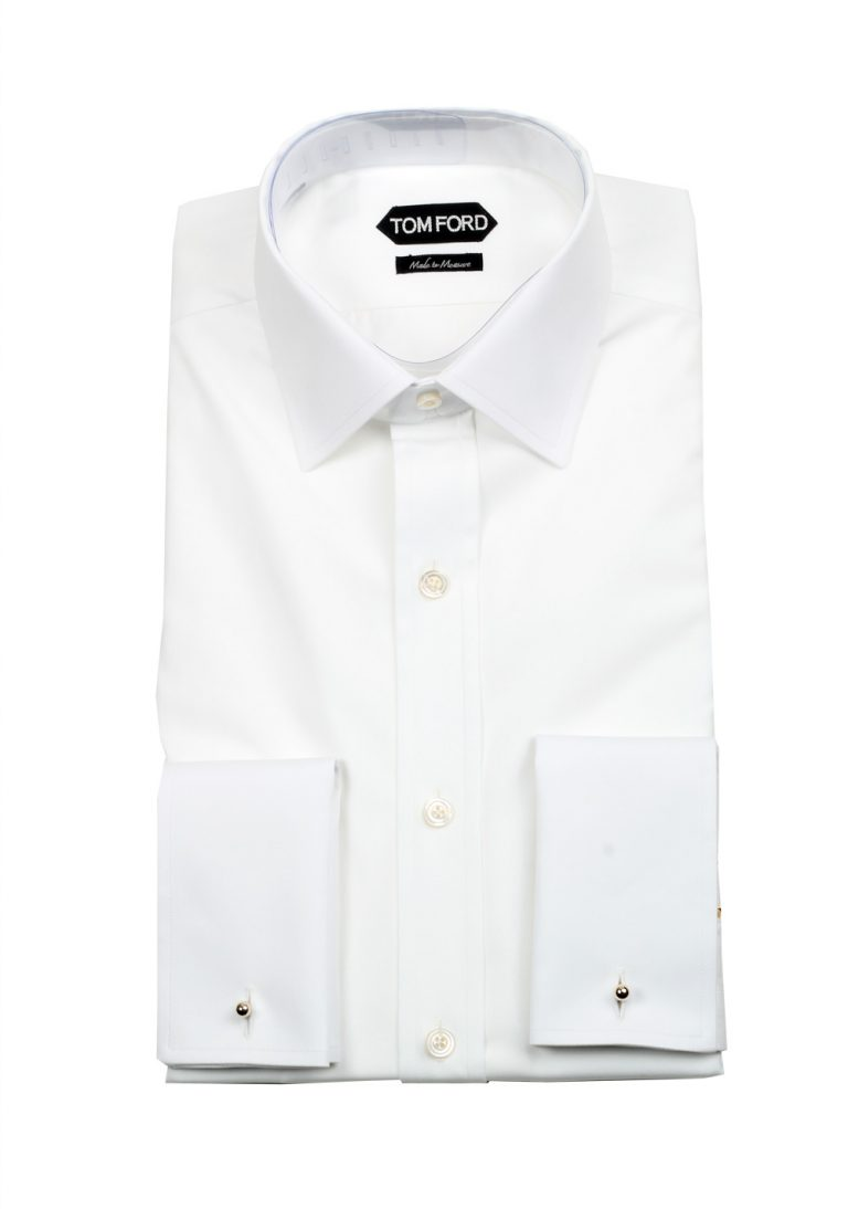TOM FORD Solid White Signature Dress Shirt With Barrel Cuffs Classic Fit - thumbnail | Costume Limité