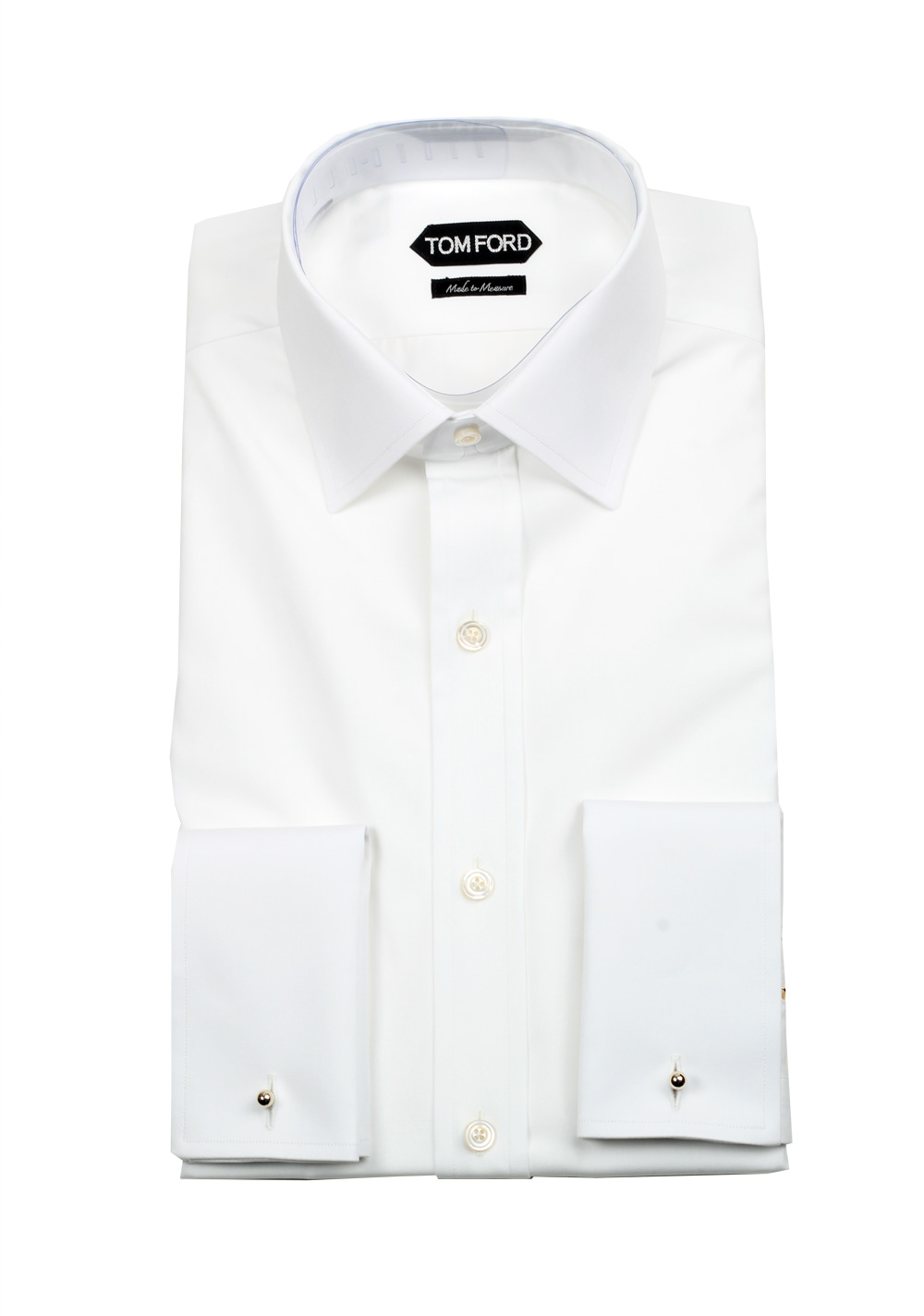 Solid White Signature Dress Shirt With Barrel Cuffs Classic Fit | Costume Limité
