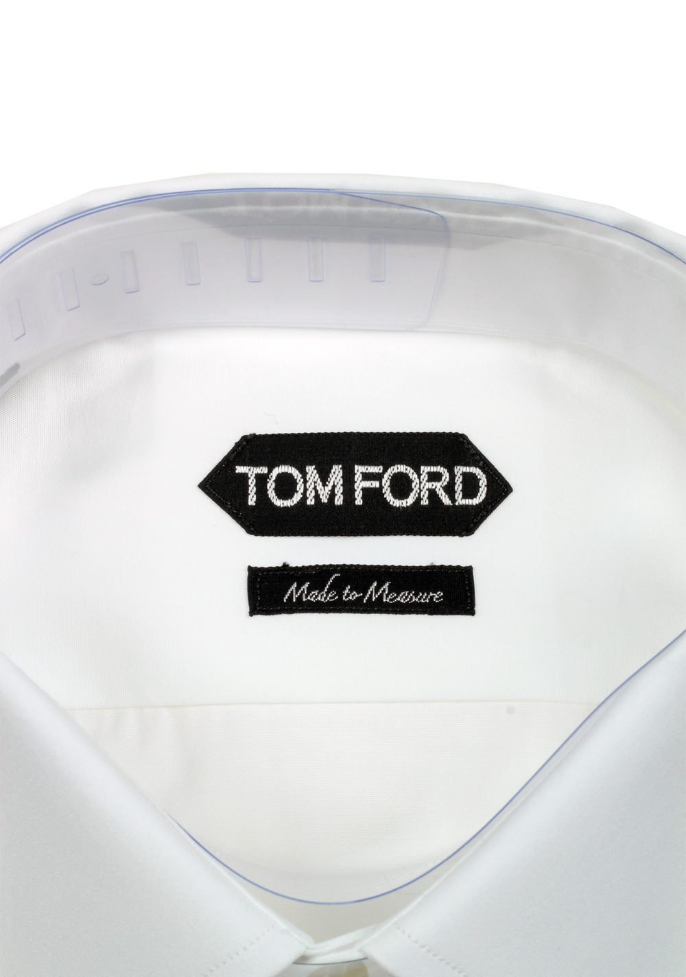 TOM FORD Solid White Signature Dress Shirt With Barrel Cuffs Classic Fit   Costume Limité