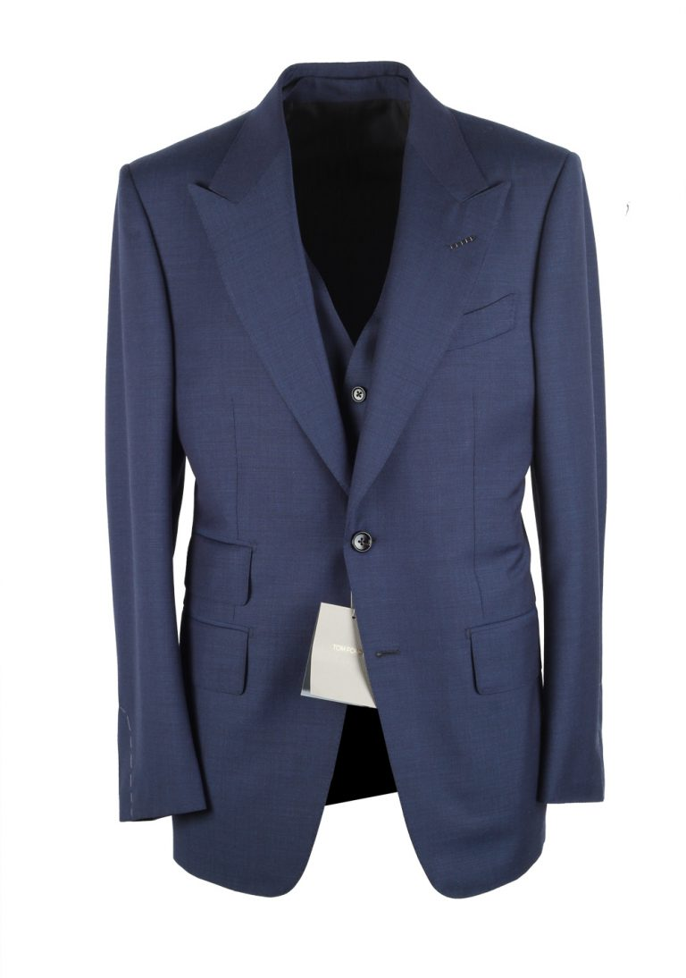 TOM FORD Windsor Blue 3 Piece Suit Size 48 / 38R U.S. Wool Fit A - thumbnail | Costume Limité