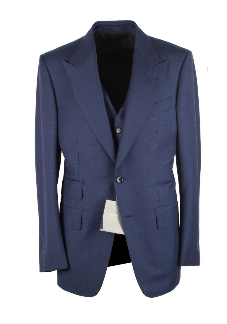 TOM FORD Windsor Blue 3 Piece Suit Size 48 / 38R U.S. Wool Fit A - thumbnail | Costume Limité