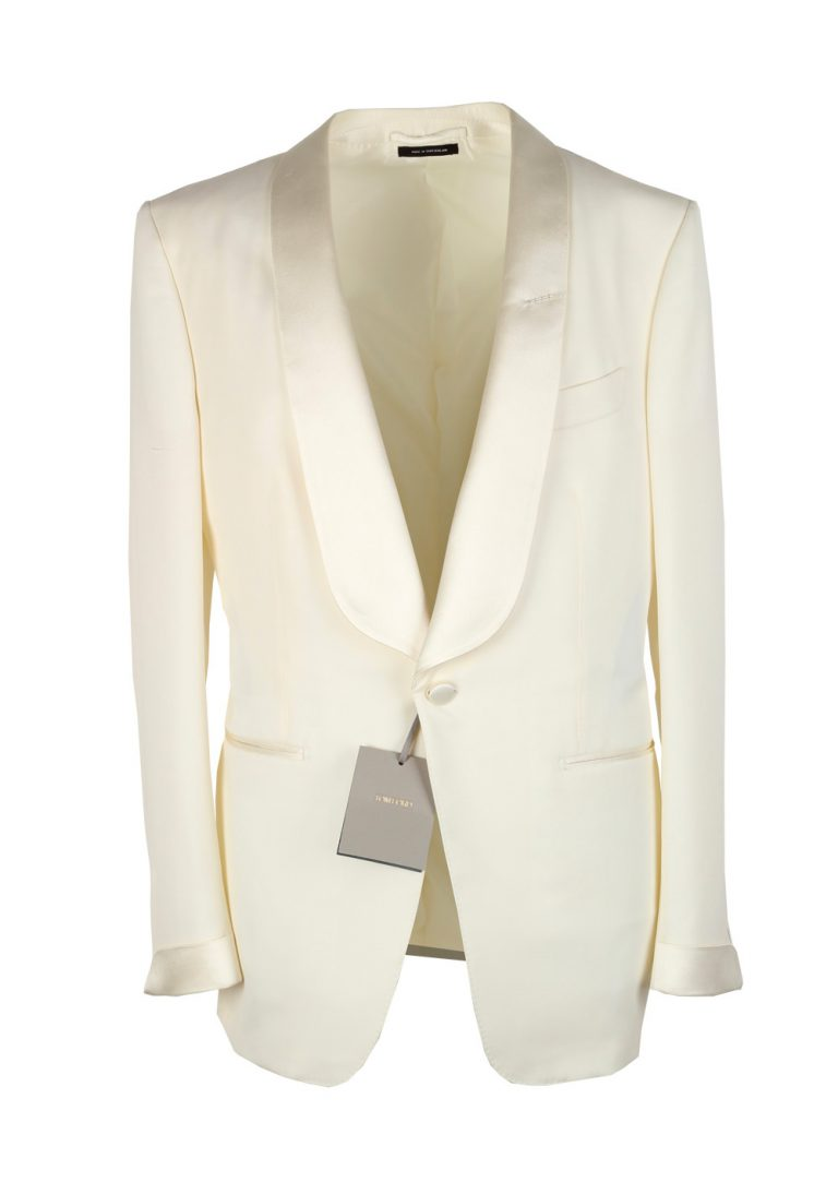 TOM FORD O'Connor Shawl Collar Ivory Sport Coat Tuxedo Dinner Jacket Size 52 / 42R U.S. Fit Y - thumbnail | Costume Limité