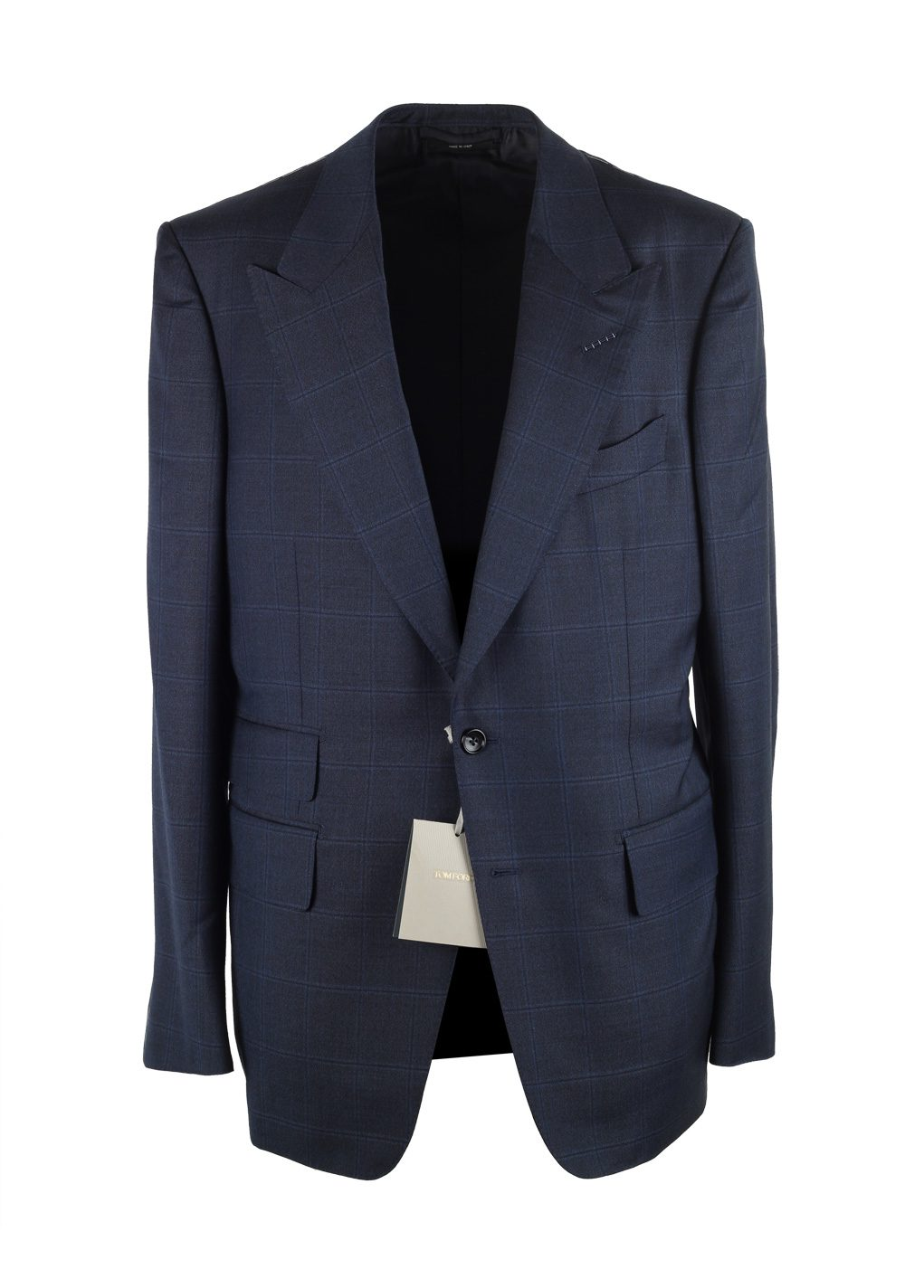 TOM FORD Shelton Blue Checked Suit Size 52 / 42R U.S. In Wool | Costume Limité