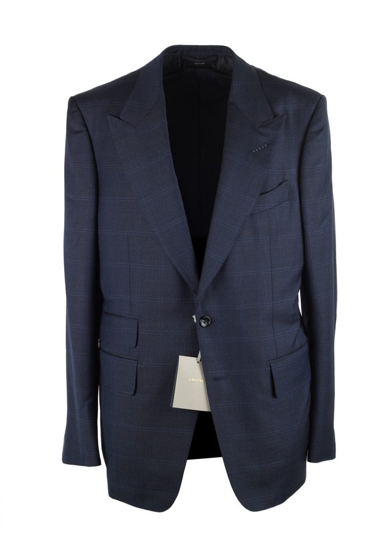 TOM FORD Shelton Blue Checked Suit Size 52 / 42R U.S. In Wool - thumbnail | Costume Limité
