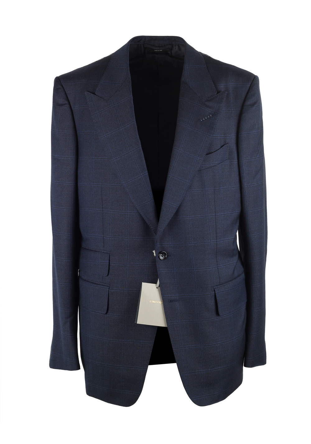 TOM FORD Shelton Blue Checked Suit Size 52 / 42R U.S. In Wool   Costume Limité