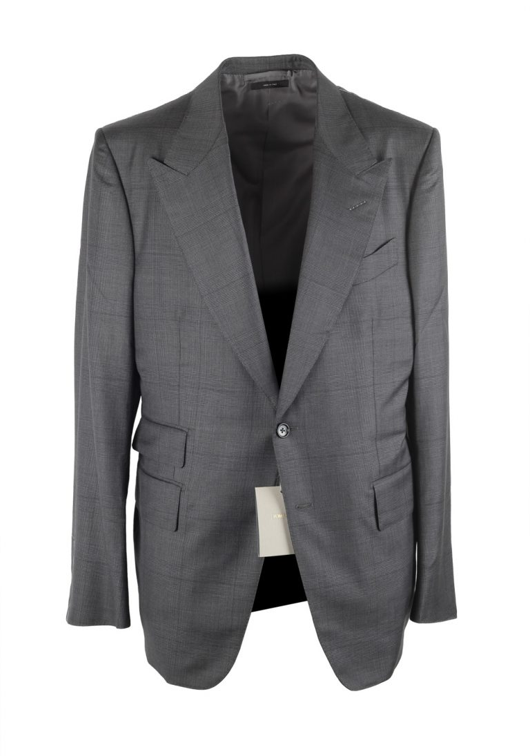 TOM FORD Shelton Checked Gray Suit Size 52 / 42R U.S. Wool Silk - thumbnail | Costume Limité