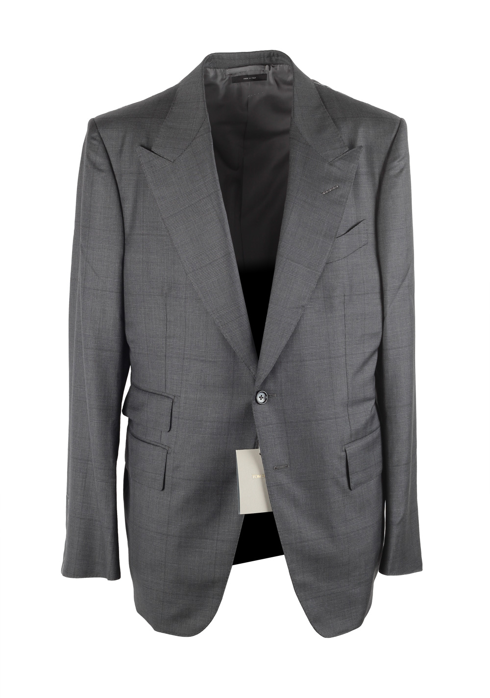 TOM FORD Shelton Checked Gray Suit Size 52 / 42R U.S. Wool Silk | Costume Limité