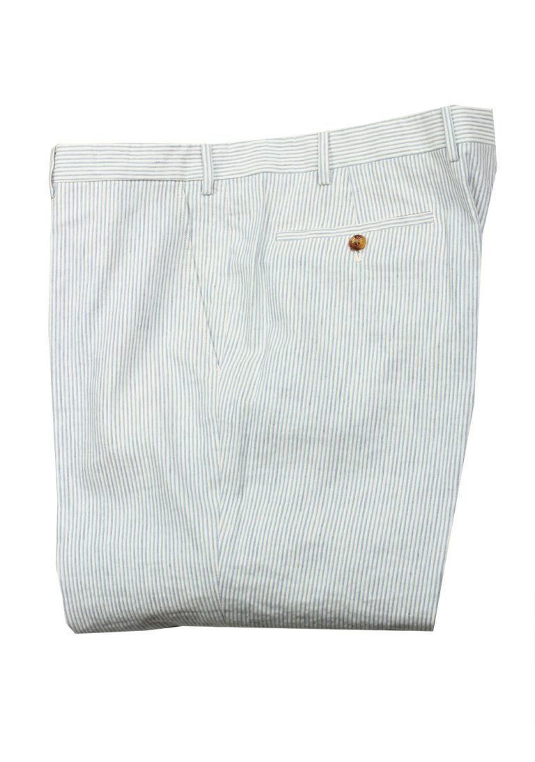 Loro Piana Blue White Striped Trousers Size 58 / 42 U.S. - thumbnail | Costume Limité