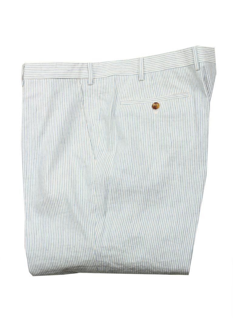 Loro Piana Blue White Striped Trousers Size 58 / 42 U.S. - thumbnail | Costume Limité