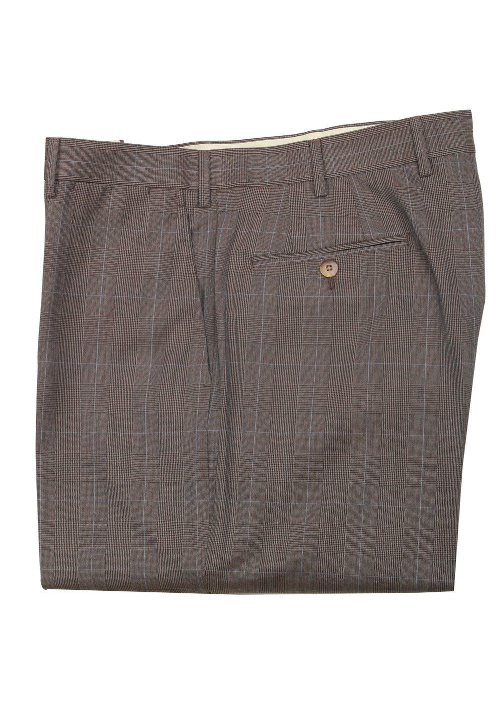 Caruso Gray Checked Trousers Size 56 / 40 U.S. | Costume Limité