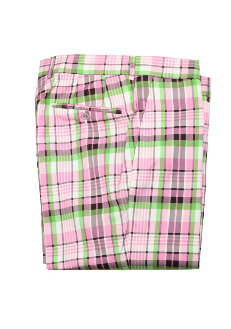 TOM FORD Pink Green Checked Silk Cotton Trousers Size 50 / 34 U.S. - thumbnail | Costume Limité