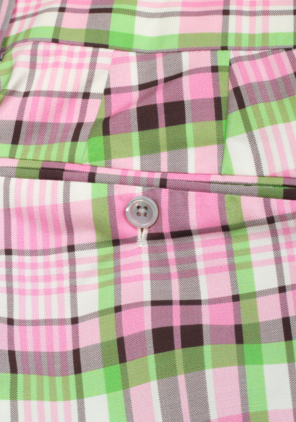 TOM FORD Pink Green Checked Silk Cotton Trousers Size 50 / 34 U.S. | Costume Limité