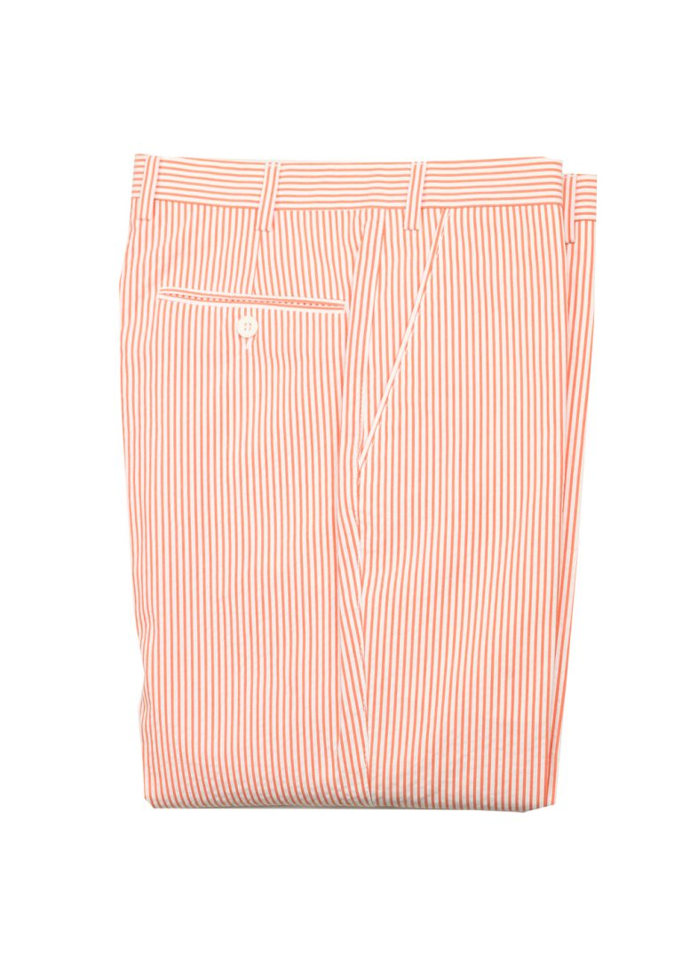 Brioni Pink White Striped Trousers Size 58 / 42 U.S. - thumbnail | Costume Limité