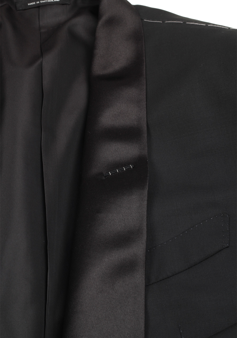 TOM FORD O'Connor Black Shawl Collar Tuxedo Smoking Suit Size 46 / 36R U.S. Fit Y | Costume Limité