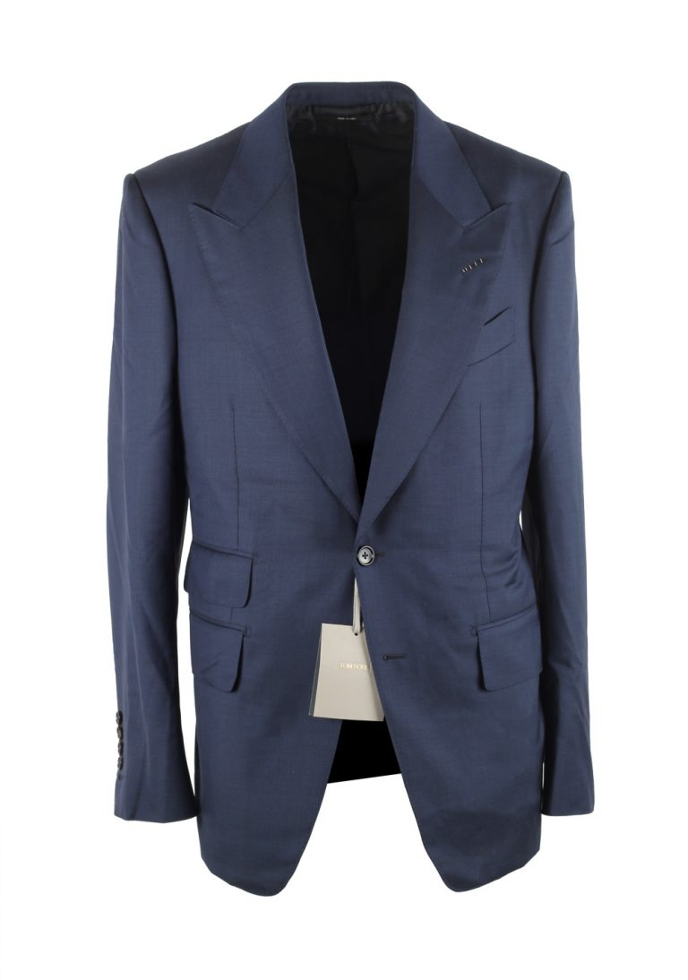 TOM FORD Shelton Blue Suit Size 48 / 38R U.S. In Wool - thumbnail | Costume Limité