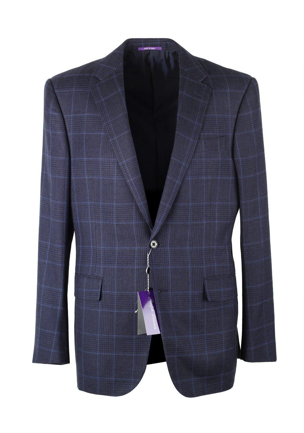Ralph Lauren Purple Label Checked Blue Sport Coat Size 50 / 40R U.S.   Costume Limité
