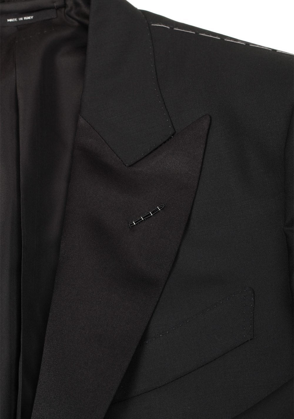 TOM FORD O'Connor Black Shawl Collar Tuxedo Smoking Suit Size 48C / 38S U.S. Fit Y | Costume Limité