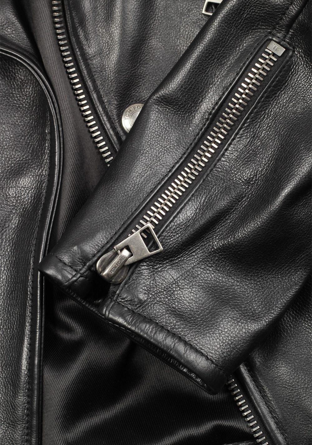 TOM FORD Black Biker Leather Jacket Coat Size 48 / 38R U.S. Outerwear | Costume Limité