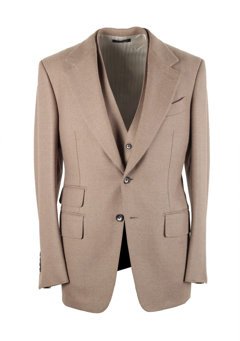 TOM FORD Shelton Solid Camel 3 Piece Suit Size 46 / 36R U.S. Wool - thumbnail | Costume Limité