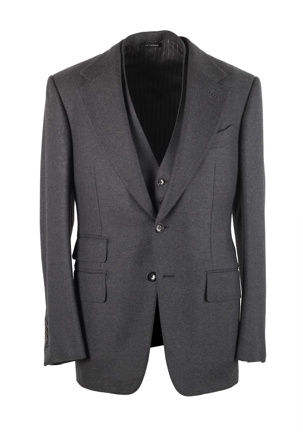 TOM FORD Shelton Solid Gray 3 Piece Suit Size 46 / 36R U.S. Wool | Costume Limité