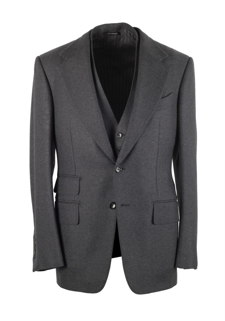TOM FORD Shelton Solid Gray 3 Piece Suit Size 46 / 36R U.S. Wool - thumbnail | Costume Limité