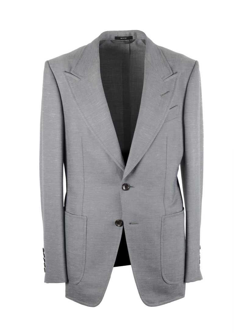 TOM FORD Shelton Gray Suit Size 46 / 36R U.S. In Wool Linen Mohair - thumbnail | Costume Limité