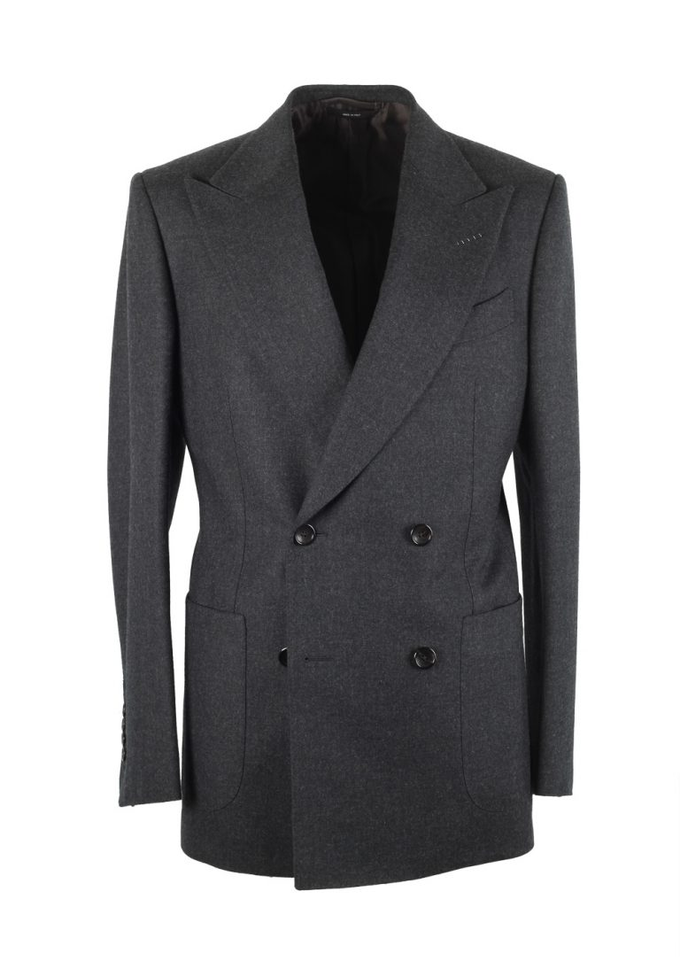 TOM FORD Shelton Double Breasted Gray Suit Size 46 / 36R U.S. Wool - thumbnail | Costume Limité