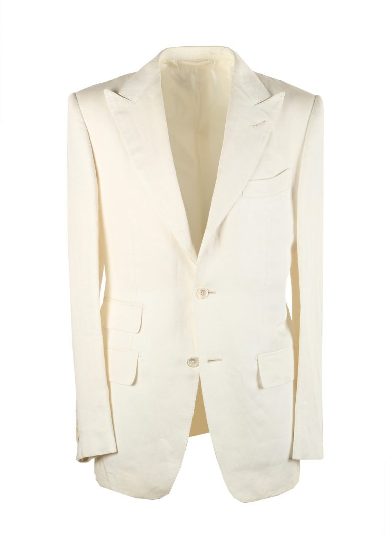 TOM FORD Regency Solid Off White Suit Size 46 / 36R U.S. Linen Base B - thumbnail | Costume Limité