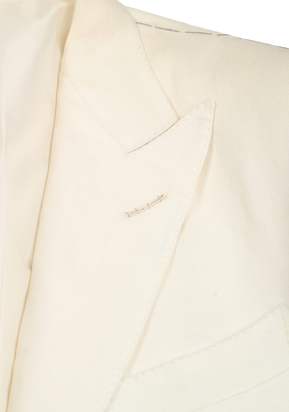 TOM FORD Regency Solid Off White Suit Size 46 / 36R U.S. Linen Base B | Costume Limité