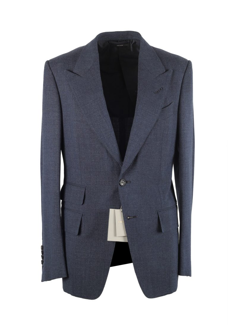 TOM FORD Shelton Blue Suit Size 46 / 36R U.S. In Wool Silk - thumbnail | Costume Limité