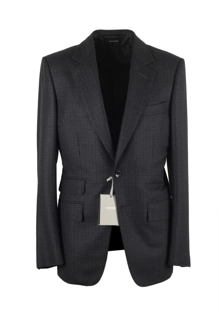 TOM FORD Buckley Blue Checked Suit Size 48 / 38R U.S. Wool Cashmere - thumbnail | Costume Limité