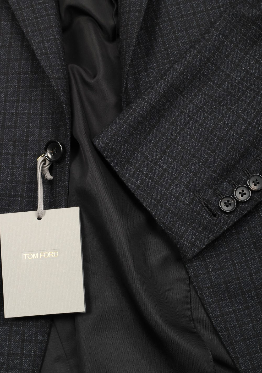 TOM FORD Buckley Blue Checked Suit Size 48 / 38R U.S. Wool Cashmere | Costume Limité