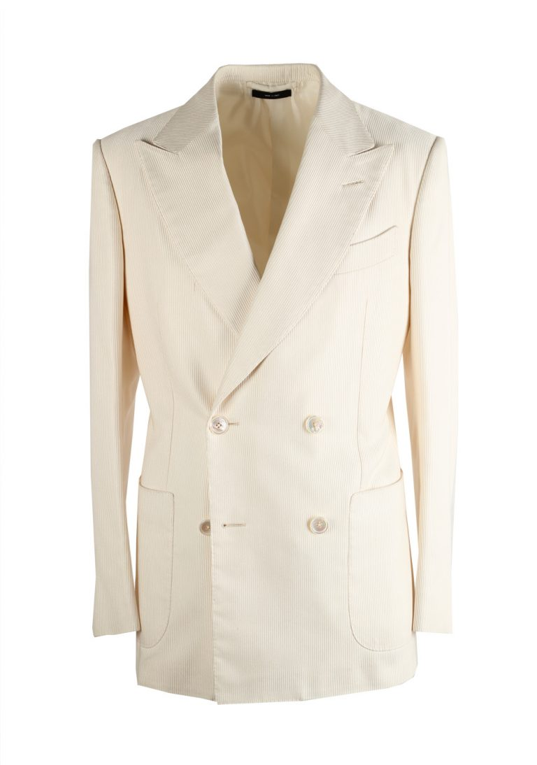 TOM FORD Shelton Double Breasted Off White Sport Coat Size 46 / 36R U.S. In Silk - thumbnail | Costume Limité