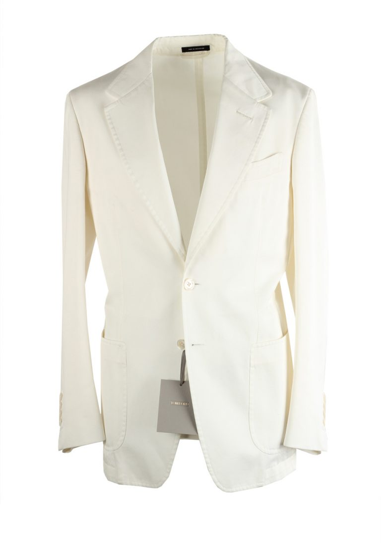 TOM FORD Shelton Off White Sport Coat Size 46 / 36R U.S. In Cotton - thumbnail | Costume Limité