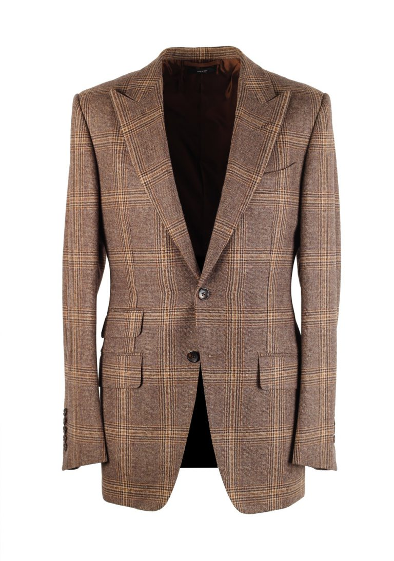 TOM FORD O'Connor Checked Brown Sport Coat Size 46 / 36R In Wool Silk - thumbnail | Costume Limité