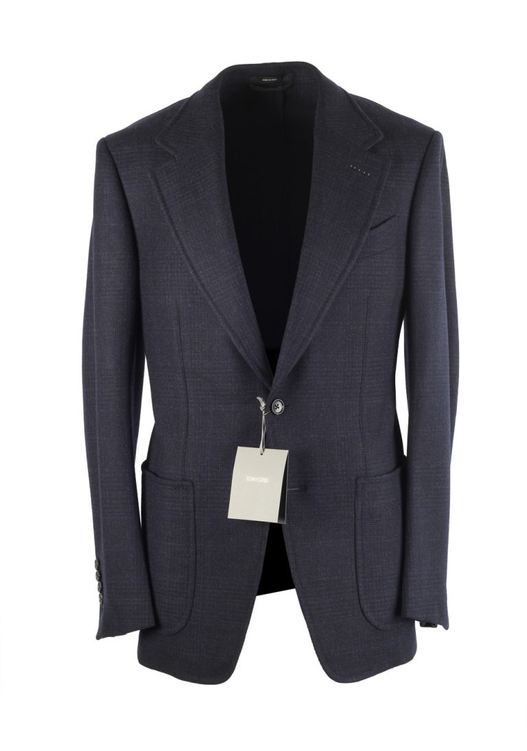 TOM FORD Shelton Checked Blue Sport Coat Size 46 / 36R In Wool Cashmere - thumbnail | Costume Limité