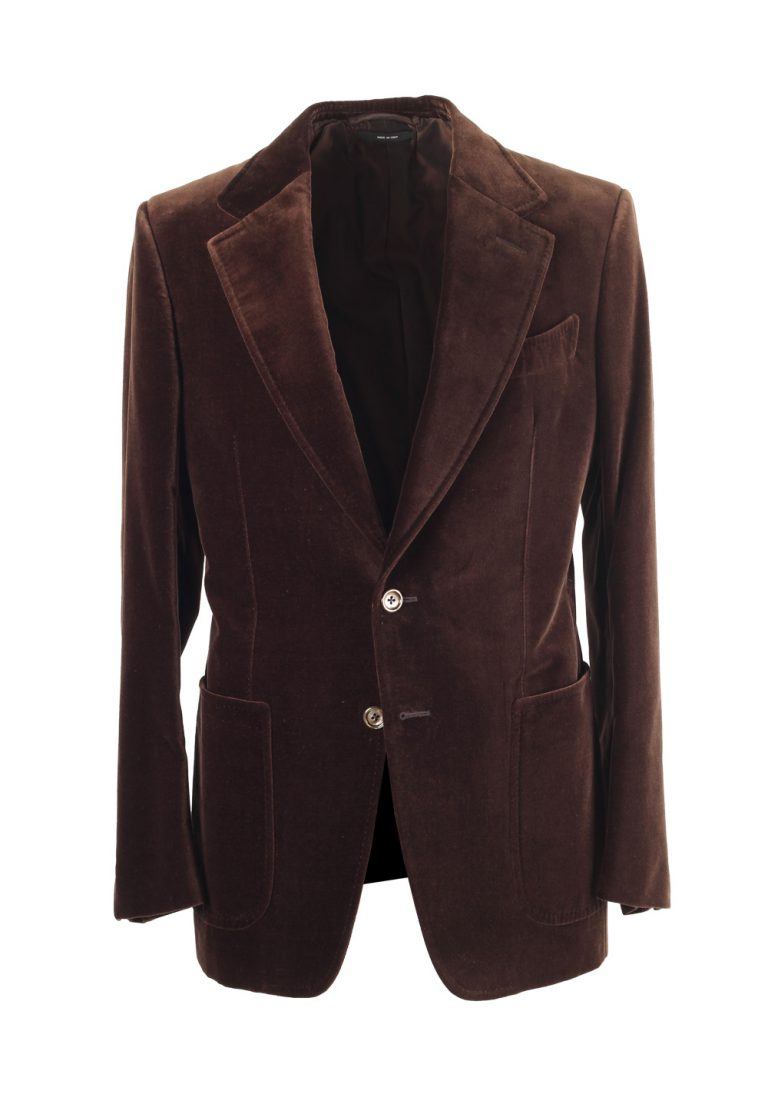 TOM FORD Shelton Brown Velvet Sport Coat Size 46 / 36R In Cotton - thumbnail | Costume Limité