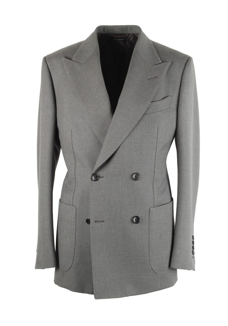 TOM FORD Shelton Double Breasted Gray Sport Coat Size 46 / 36R In Wool - thumbnail | Costume Limité