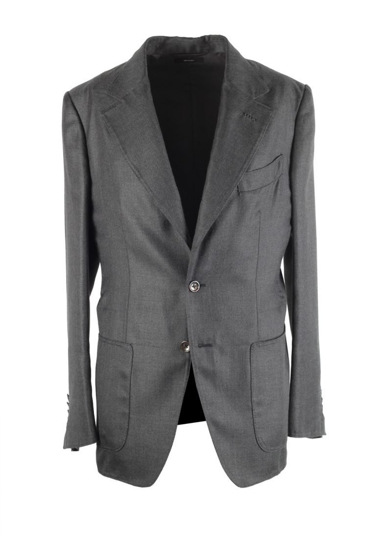 TOM FORD Shelton Gray Sport Coat Size 46 / 36R In Silk Cashmere - thumbnail | Costume Limité