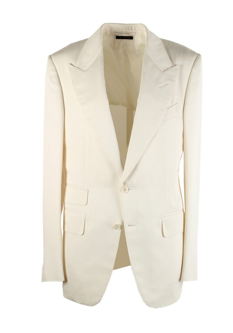TOM FORD Shelton Off White Sport Coat Size 48 / 38R U.S. In Silk - thumbnail | Costume Limité