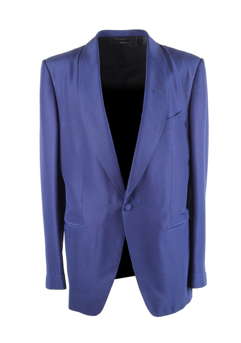 TOM FORD O'Connor Blue Tuxedo Dinner Jacket Size 52 / 42R U.S. Fit S - thumbnail | Costume Limité