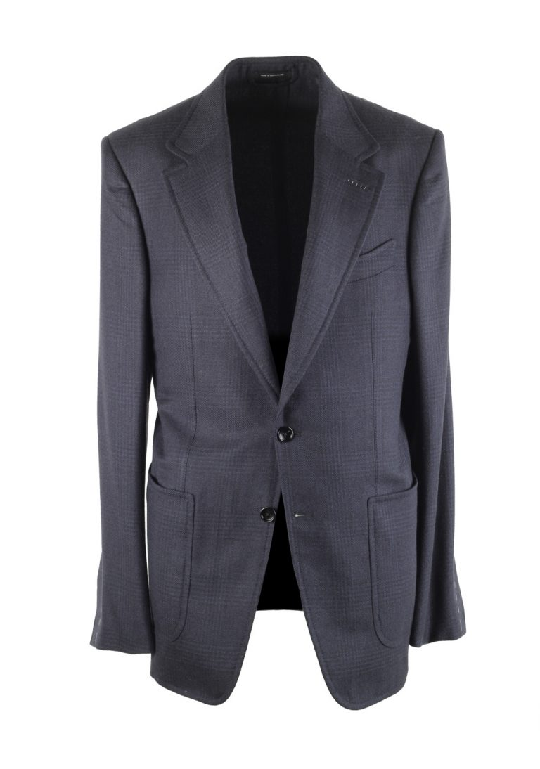 TOM FORD Shelton Blue Checked Sport Coat Size 48L / 38L U.S. Silk Cashmere - thumbnail | Costume Limité