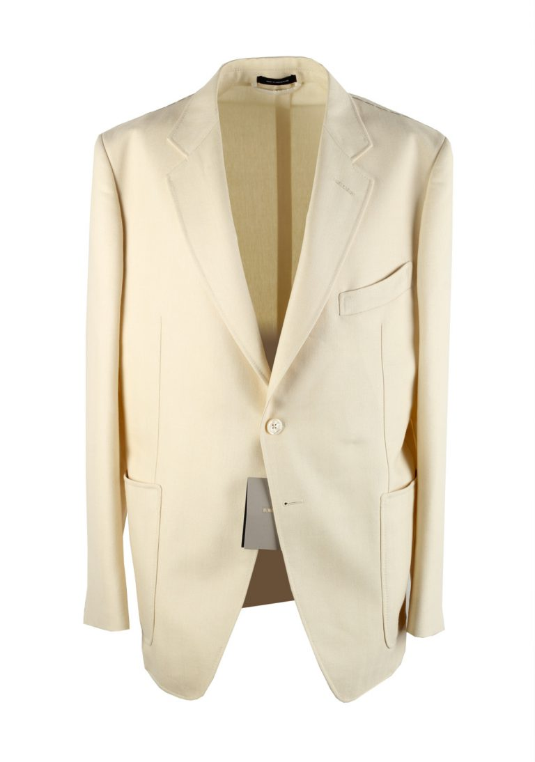 TOM FORD Shelton Off White Sport Coat Size 54 / 44R U.S. Mohair Silk Wool - thumbnail | Costume Limité