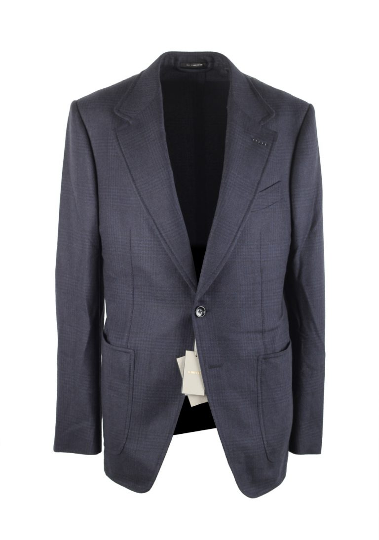 TOM FORD Shelton Checked Blue Sport Coat Size 48 / 38R U.S. In Silk Cashmere - thumbnail | Costume Limité